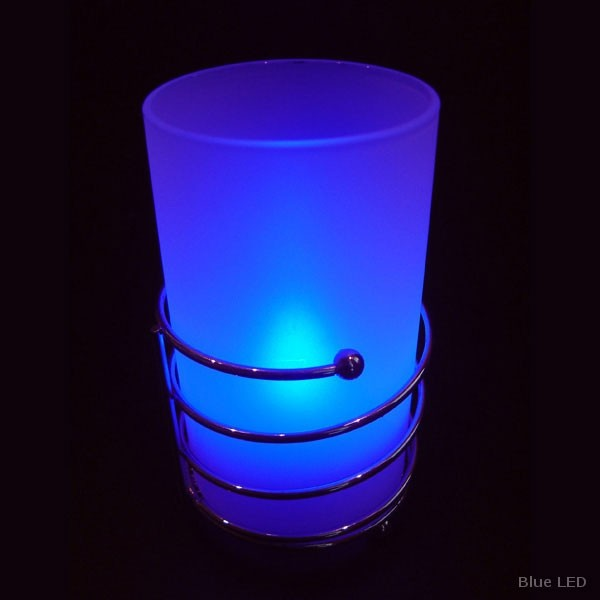 Cylinder Candle Lamp 3 Ring Chrome Decor Base With Blue