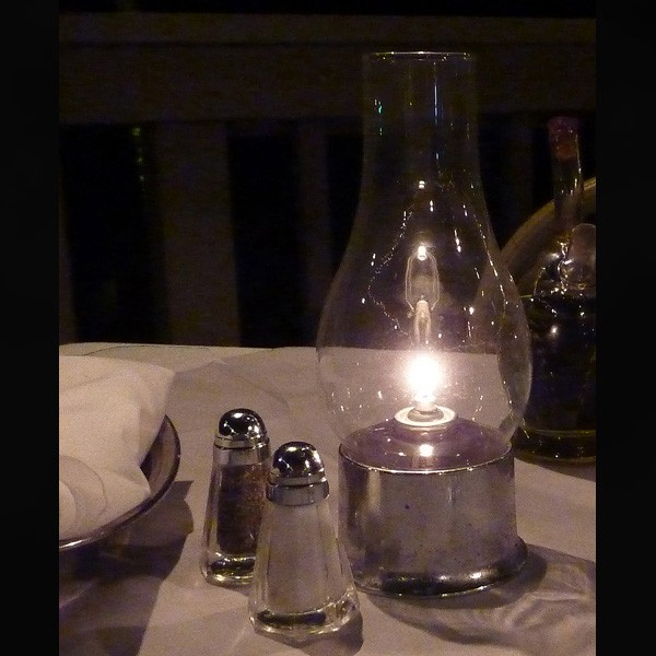 Traditional Oil Lamp with Silver Metal Base