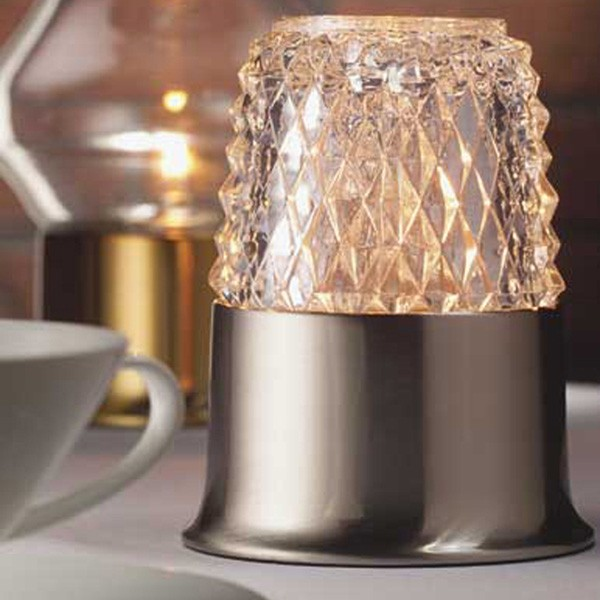 Dazzle Candle Lamp Clear Glass with Satin Pewter USA Base