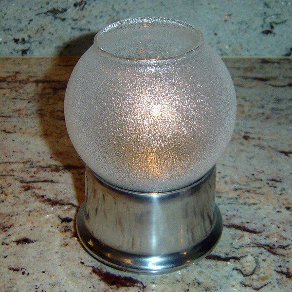 Glass Globe 'Clear Ice' with Economy Silver Base