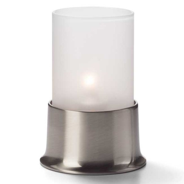 Frosted Glass Cylinder Candle Lamp & Luxury USA Pewter Base
