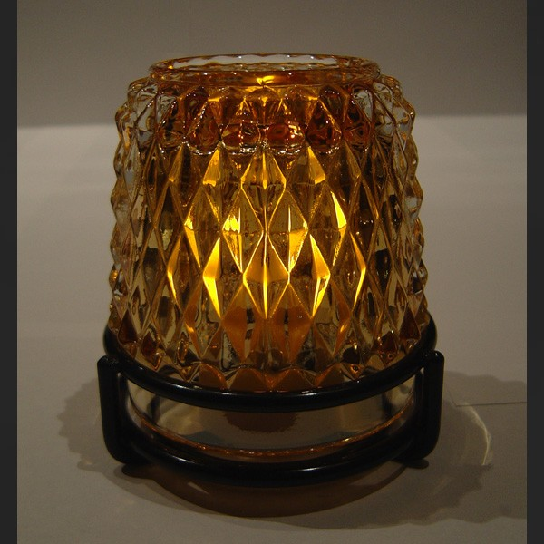 Dazzle Candle Lamp Gold with Black Ring Base -w/Amber LED