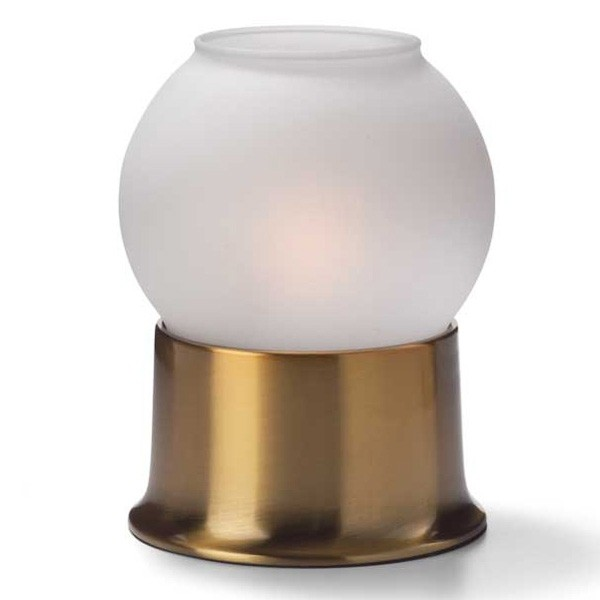 Glass Globe Candle Lamp With Brass Metal Base   Satin Or Clear Ice