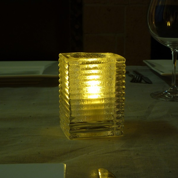 Mini Candle Lamp Square Horizontal Ribbed Jewel Clear