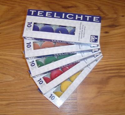 Gies European 4hr Tealights - Pack 10 - Various colours