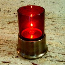 Ruby Glass Cylinder Candle Lamp with Brass Base
