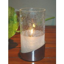 """Allure"" Candle Lamp Crackled Glass Frosted Shade + Satin Silver Base"