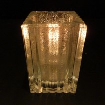 Solid Glass Mini Block Candle Lamp (Vertical Rib) - 4 Colours