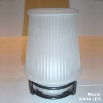 Satin-frosted Glass Danbury Candle Lamp with Black Ring base