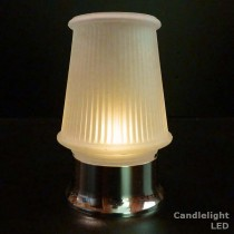 Glass Satin-frosted Danbury Candle Lamp with Metallic Silver base