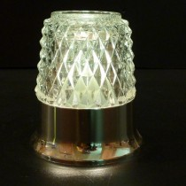 Dazzle Candle Lamp Clear Glass Metalised Silver Base -w/W-White LED