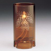 Etched Nutmeg Amber Candle Lamp