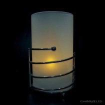 Frosted White Glass Cylinder Candle Lamp  with 3-Ring Chrome Base
