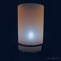 Frosted White Glass Cylinder Candle Lamp with Black Ring Base