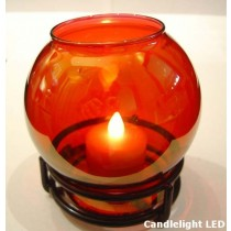 Globe Candle Lamp with Black Ring Base 4 Colours