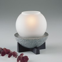 Glass Globe candle lamp with 'Granite' base - Satin or Clear Ice