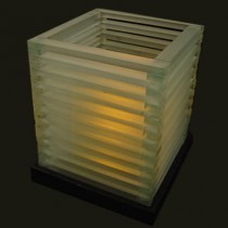 Frosted glass louvre candle lamp