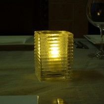 Clear Jewel glass mini block candle lamp
