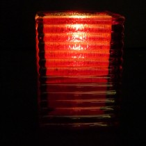 Glass mini block candle lamp red