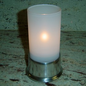 Frosted Glass Cylinder Candle Lamp & Silver Metal Base