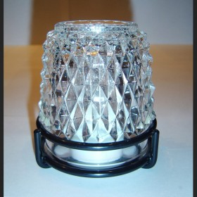 Dazzle Candle Lamp Clear Glass Black Ring Base-w/W-White LED