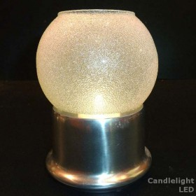 Glass Globe 'Clear Ice' candle lamp with Satin Silver base