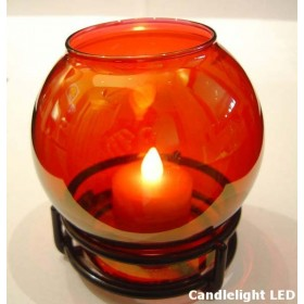 Glass Globe Candle Lamp with Black Ring Base 4 Colours