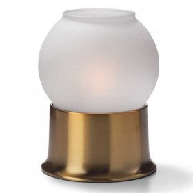 Glass Globe candle lamp with Brass metal base - Satin or Clear Ice