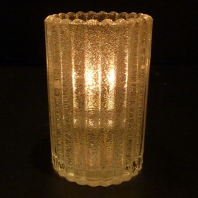 Solid Glass Mini Cylinder Candle Lamp (Vertical Rib) - Clear, Red or Amber