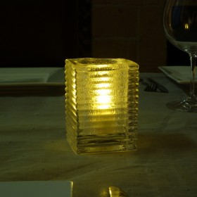 Solid Glass Mini Block Candle Lamp Horizontal Rib - Clear Jewel