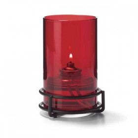 Ruby Glass Cylinder Candle Lamp with Black Ring Base