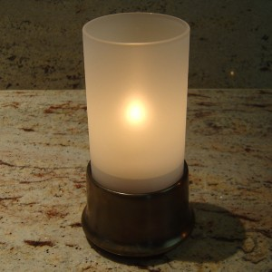 Frosted Glass Cylinder Candle Lamp & Brass Base