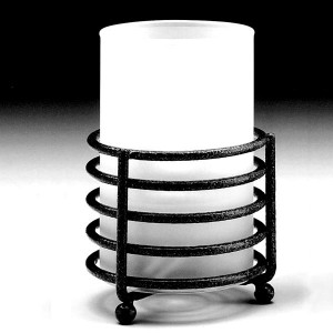 Frosted White Glass Cylinder Candle Lamp & Black Multi Ring Base