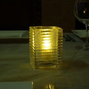 Clear Jewel glass mini block candle lamp