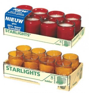 """Bolsius """"Starlights"""" Wax Filled Glass Jars - Red or Amber"""